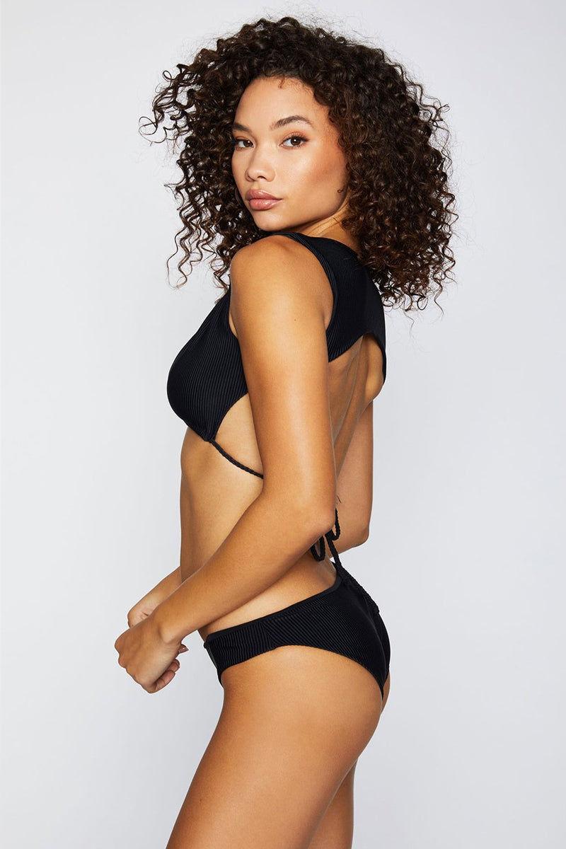 FRANKIES BIKINIS Shea Ribbed Moderate Bikini Bottom - Black Bikini Bottom   Black  Frankies Bikinis Shea Moderate Bikini Bottom - Black Hipster style Moderate coverage  Ribbed fabric  Side View