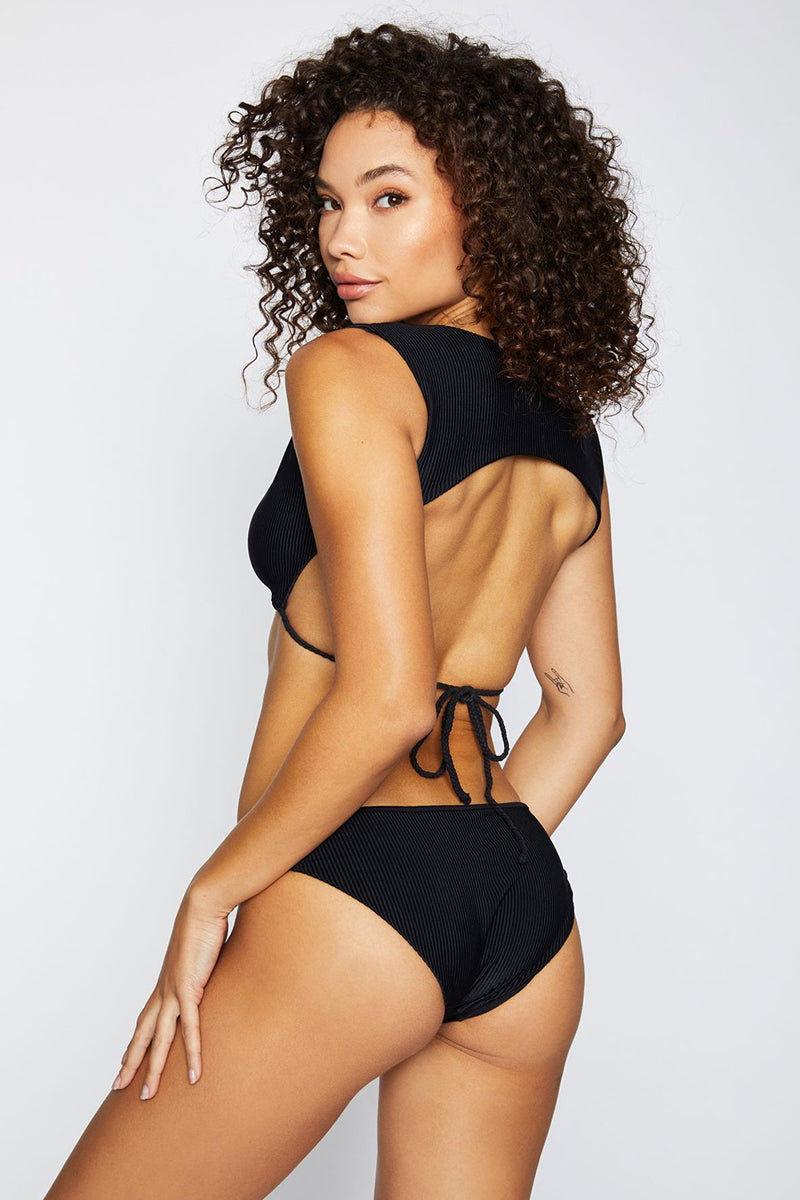 FRANKIES BIKINIS Shea Ribbed Moderate Bikini Bottom - Black Bikini Bottom   Black  Frankies Bikinis Shea Moderate Bikini Bottom - Black Hipster style Moderate coverage  Ribbed fabric  Back View