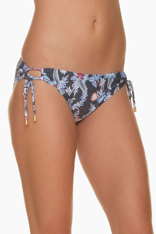 HELEN JON Tunnel Side Hipster Bikini Bottom - Rhapsody Floral Print Bikini Bottom | Rhapsody Floral Print| Helen Jon Tunnel Side Hipster Bikini Bottom - Rhapsody Floral Print Classic low-rise hipster bikini bottom in a grey multicolor floral print. Tie Sides with golden beads. full coverage  Front View