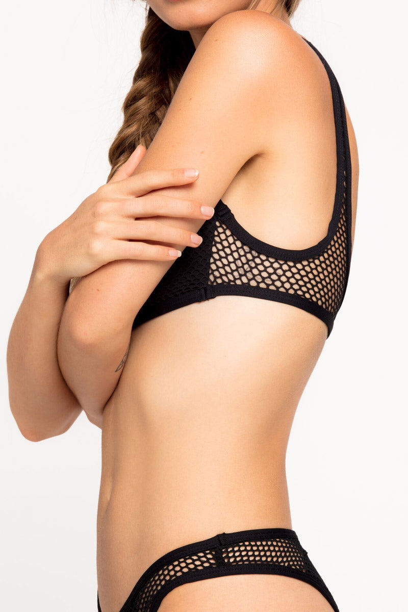 L SPACE Benji Mesh Bralette Bikini Top - Black Bikini Top | Black| L Space Benji Mesh Bralette Bikini Top - Black Scoop neckline Center cut out Cutout mesh designs Fixed shoulder straps Lined cups Pull over Side View