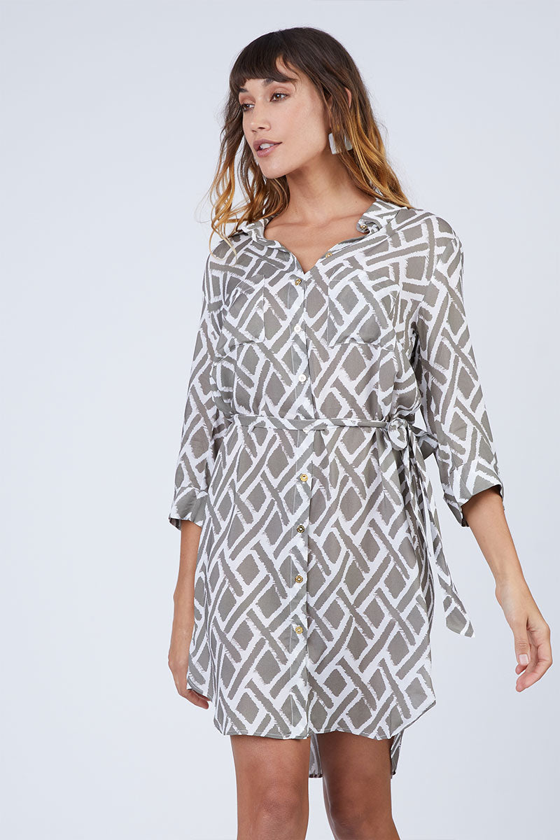 HEIDI KLEIN Relaxed Shirt Dress - Square Print Dress | Square Print| Heidi Klein Relaxed Shirt Dress - Square Print A rounded hem that dips at the back and a drawstring for an adjustable fit and a flattering silhouette. Neat fitting on the shoulders with slightly shaped side seams.   Sleeves can be worn long or tacked up with sleeve tabs for versatility. Front View