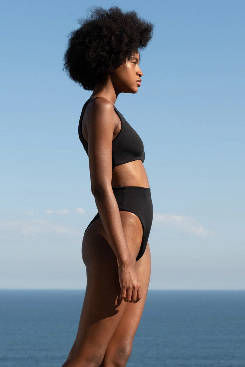 HAIGHT Crepe Perlin One Shoulder Bikini Top - Black Bikini Top | Black| Haight Crepe Perlin One Shoulder Bikini Top - Black Features:  One shoulder bikini top Thick strap Side View