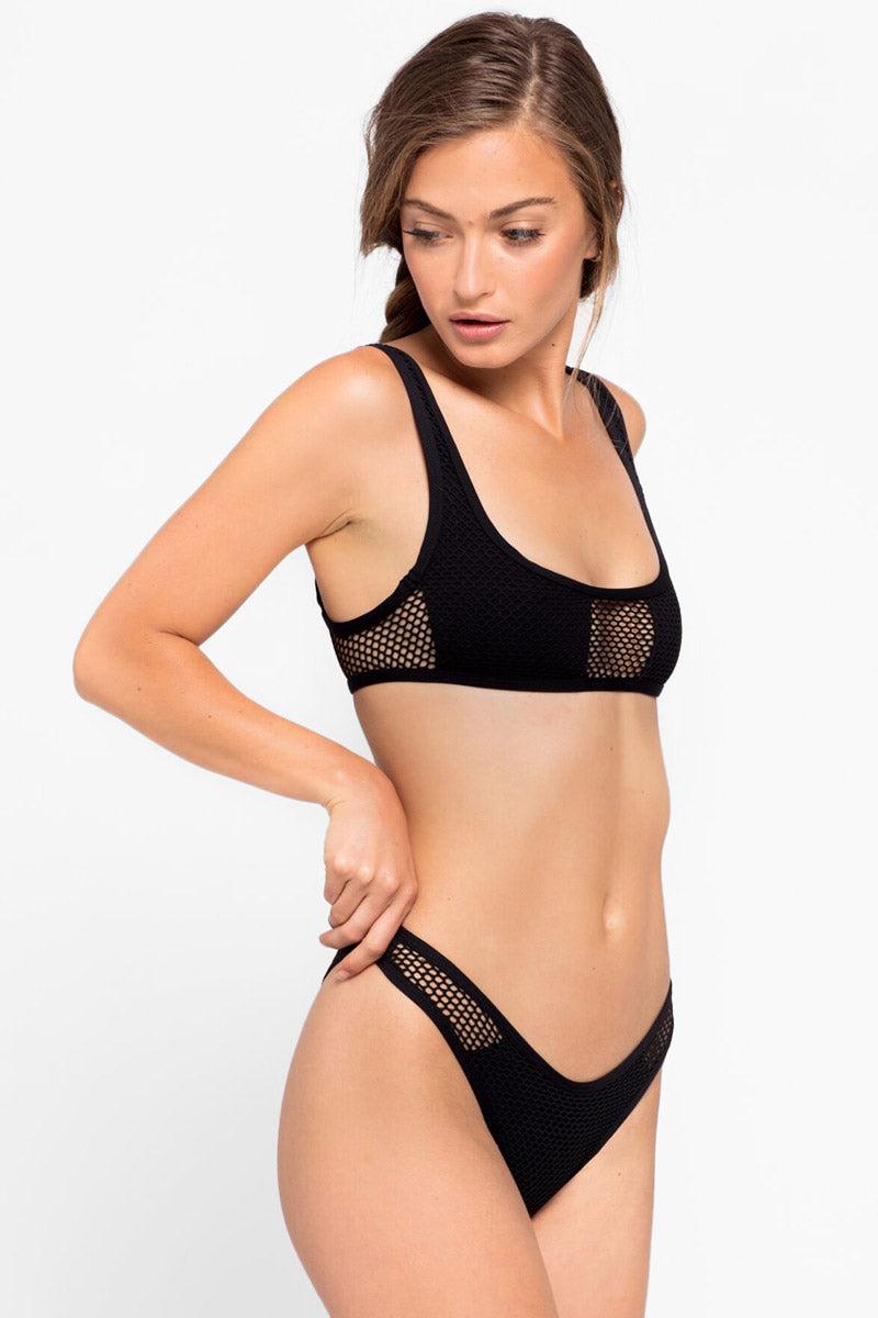 L SPACE Stevie Mesh Cheeky Bikini Bottom - Black Bikini Bottom | Black|