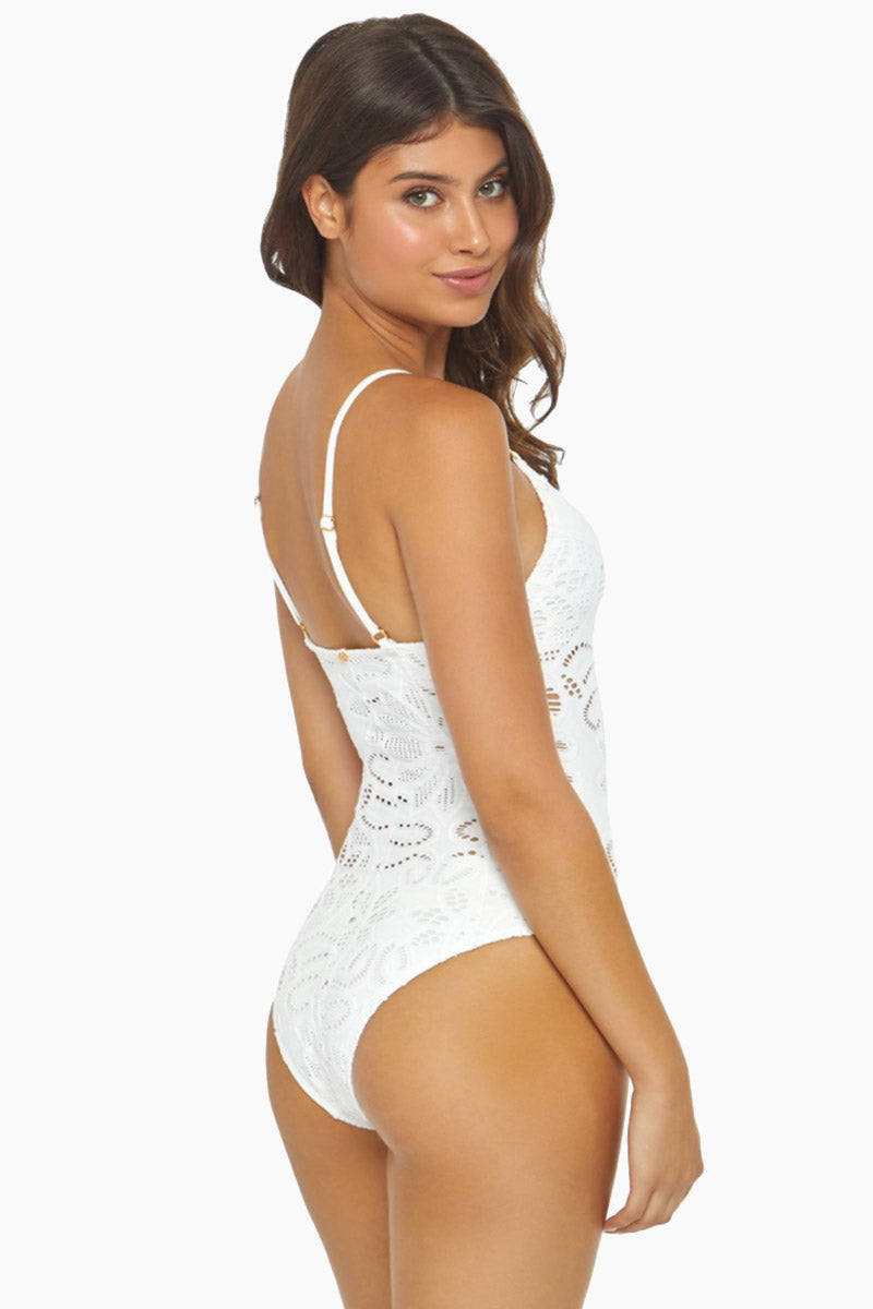 PILYQ Catherine Lace One Piece Swimsuit - Water Lily White One Piece | Water Lily White| Pilyq Catherine Lace One Piece Swimsuit - Water Lily White Features:   V neckline Adjustable shoulder straps Lightly padded removable cups Cheeky coverage Allover lace fabrication Made in Colombia Back View