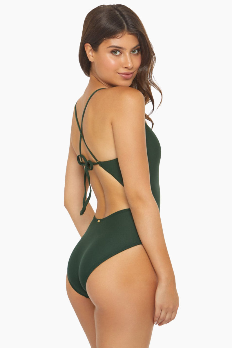 PILYQ Victoria Strappy One Piece Swimsuit - Envy Green One Piece | Envy Green| PilyQ Victoria Strappy One Piece Swimsuit - Envy Green V neckline  Strappy front detail  Crisscross back  Back tie closure  Open back Cheeky-moderate coverage  Back View