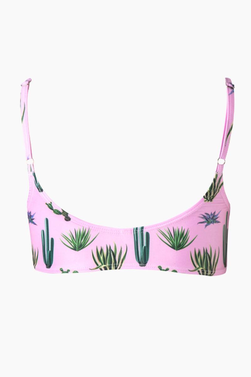 VERDELIMON Sol Bralette Bikini Top - Pink Cactus Print Bikini Top | Pink Cactus Print| Verdelimon Sol Bralette Bikini Top - Pink Cactus Print Features:   Bralette  Scoop neckline  Adjustable shoulder straps  Low scoop back  Back View