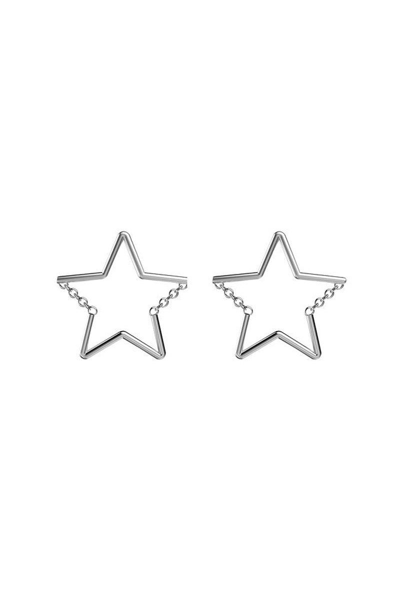 EACH JEWELS Star Chain Stud Earrings - Silver Jewelry   Silver  Each Jewels Star Chain Stud Earrings - Silver Star stud earrings Chain creates 2 angles of the star  Chain moves when you do Silicone backings included Made in NYC Front View