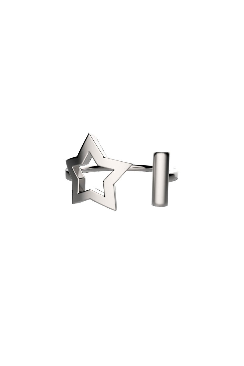 EACH JEWELS Star Ring - Silver Jewelry | Silver| Each Jewels Star Ring - Silver Asymmetrical star and bar ring Height: 9mm Size: 5-7 Made in NYC Front View
