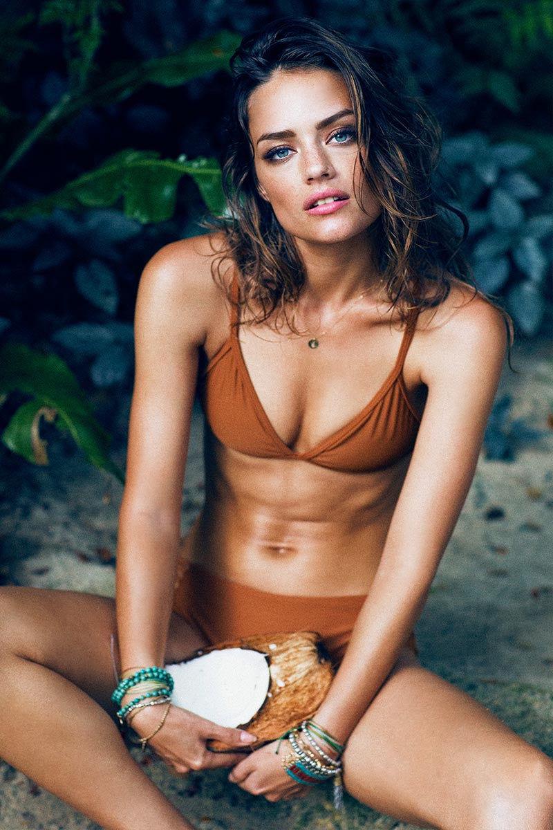 STONE FOX SWIM Cora Triangle Strappy Back Bikini Top - Bronzed Bikini Top | Bronzed|