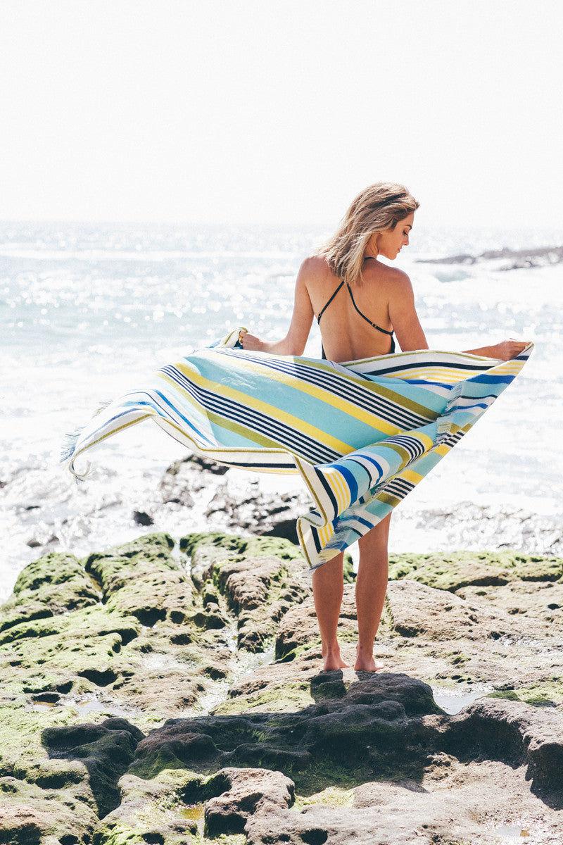 RUBY MINT Kensington Towel Towel | Blue/Yellow Stripe|