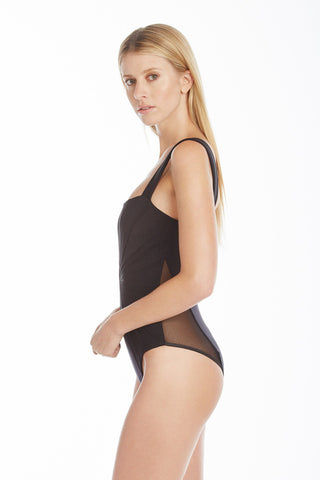 720a6b5e3c ... AMAIO SWIM Avril Mesh Pleating One Piece Swimsuit - Black One Piece |  Black|Amaio ...