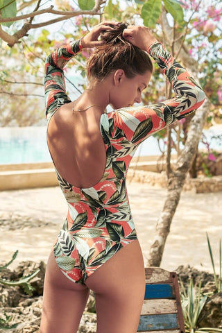MALAI Long Sleeve Rashguard One Piece Swimsuit - Verdant Mangrow Coral Tropical Print One Piece | Verdant Mangrow Coral Tropical Print | Malai Long Sleeve Rashguard One Piece Swimsuit - Verdant Mangrow Coral Tropical Print Higher Neckline  Long Sleeves Scoop Back High Cut Leg  Cheeky Coverage Back View