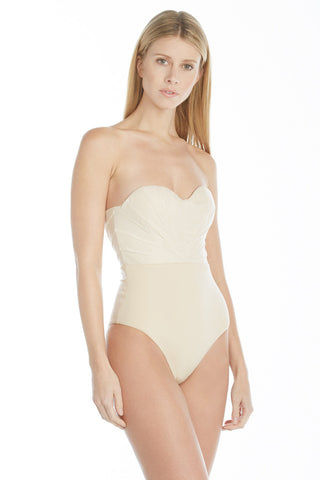 AMAIO SWIM Bardot One Piece One Piece | Beige| Amaio Bardot One Piece-Features:  Strapless one-piece Mesh pleating Invisible zipper Mini hook Underwire Medium coverage Hand wash 85% Nylon, 15% Elastane
