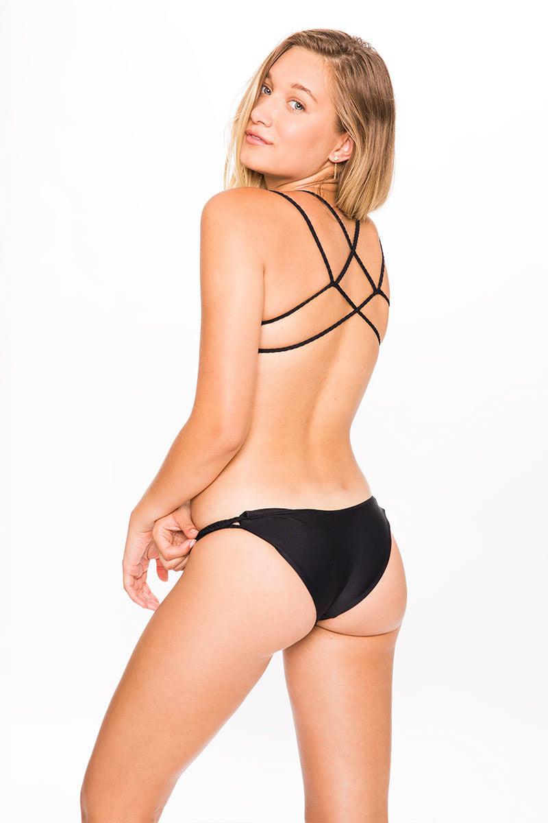 FRANKIES BIKINIS Kaia Criss-Cross Bralette Bikini Top - Black Bikini Top | Black|