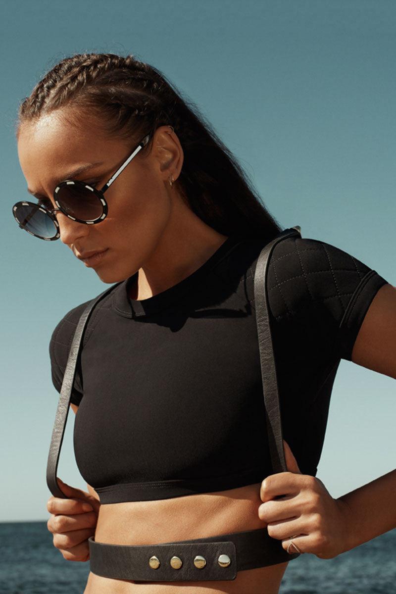ZIGILANE Lagerfeld Crop Top Bikini Top   Black 