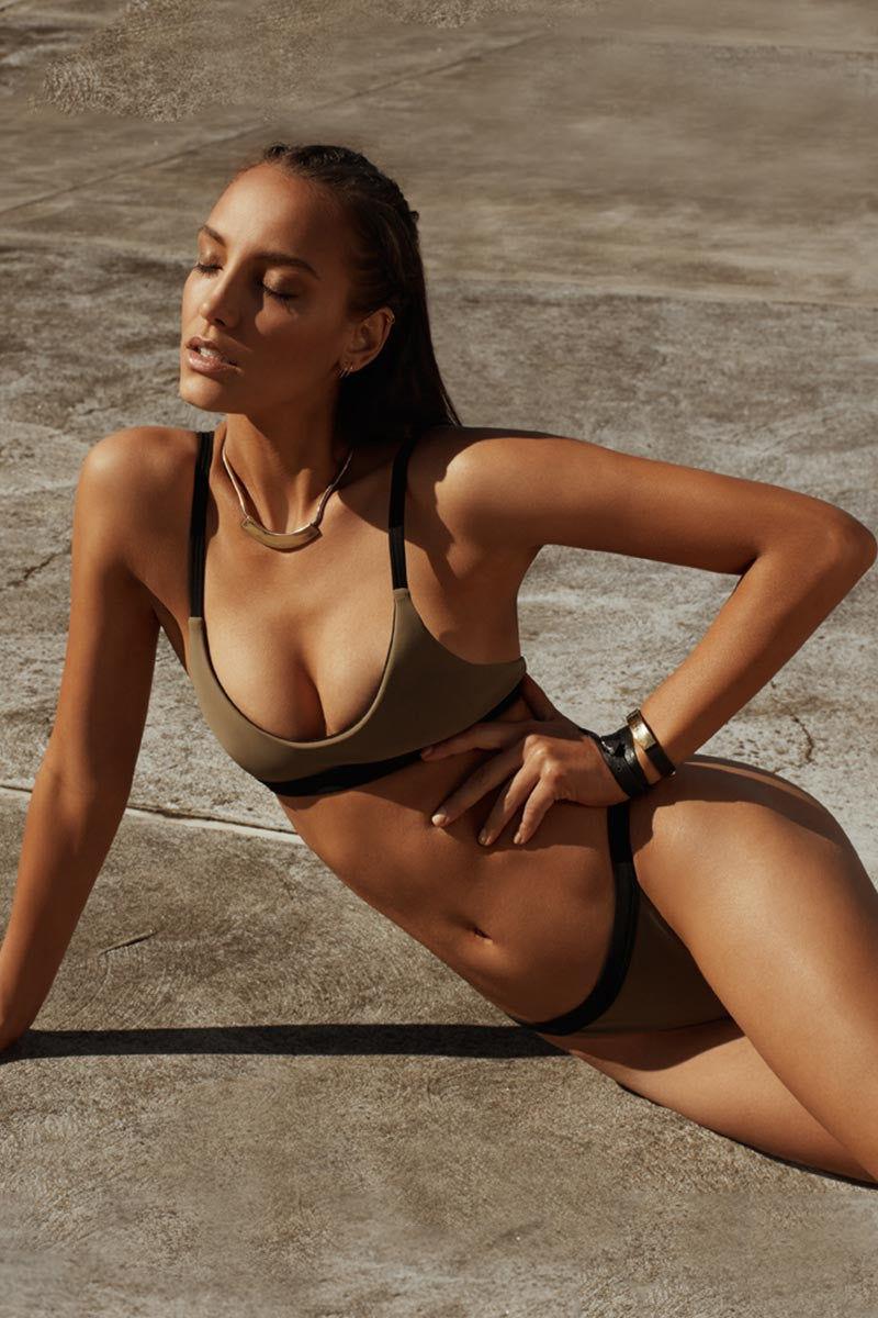 ZIGILANE HQ Top Bikini Top | Olive Green & Black|
