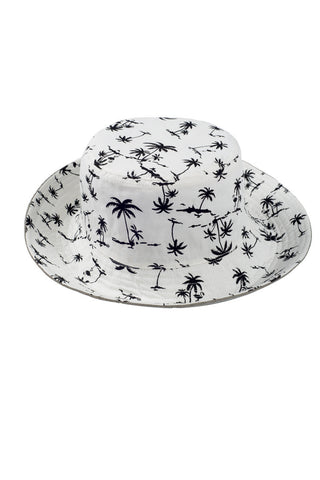 "SUN N SAND Calypso Reversible Bucket Hat - Beige/White Tropical Print Hat | Beige/White Tropical Print| Calypso Reversible Bucket Hat - Beige/White Tropical Print Reversible Cotton construction 3"" brim Drawstring feature Front View"