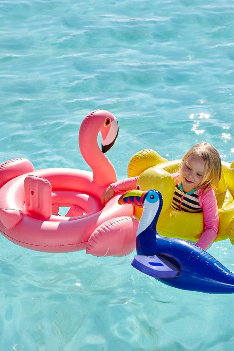 SUNNYLIFE Flamingo Baby Float Pool Accessories | Flamingo|Baby Flamingo Float Full View Features:  Inflatable baby float  Features headrest  Soft leg supports  Includes repair patch - in case of punctures  .20 mm PVC  33 X 30 X 17 inches
