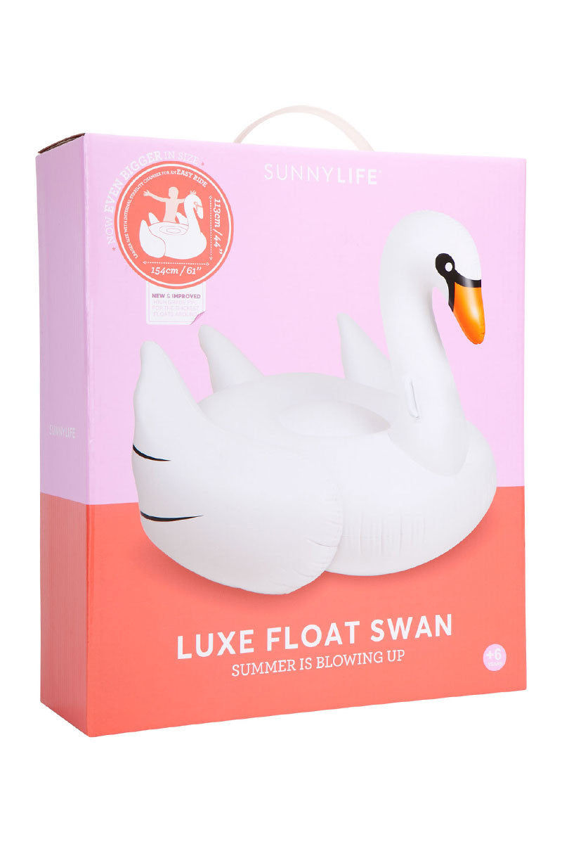 SUNNYLIFE Luxe Swan Float Pool Accessories | White|Luxe Swan Float