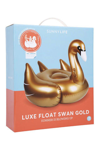 SUNNYLIFE Luxe Gold Swan Float Pool Accessories | Gold|Luxe Gold Swan Float