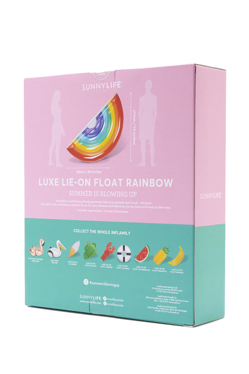 SUNNYLIFE Luxe Lie-On Rainbow Float Pool Accessories | Rainbow| sunnylife luxe lie on rainbow float