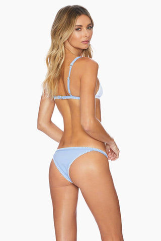 ELLEJAY Talita Fitted Brazilian Bikini Bottom - Blue Texture Bikini Bottom | Blue Texture| Ellejay Talita Fitted Brazilian Bikini Bottom - Blue Texture Thin Side Straps Ribbed fabric Whipstitch trim Stretch fit Brazilian Coverage  80% nylon, 20% spandex Flatlay View