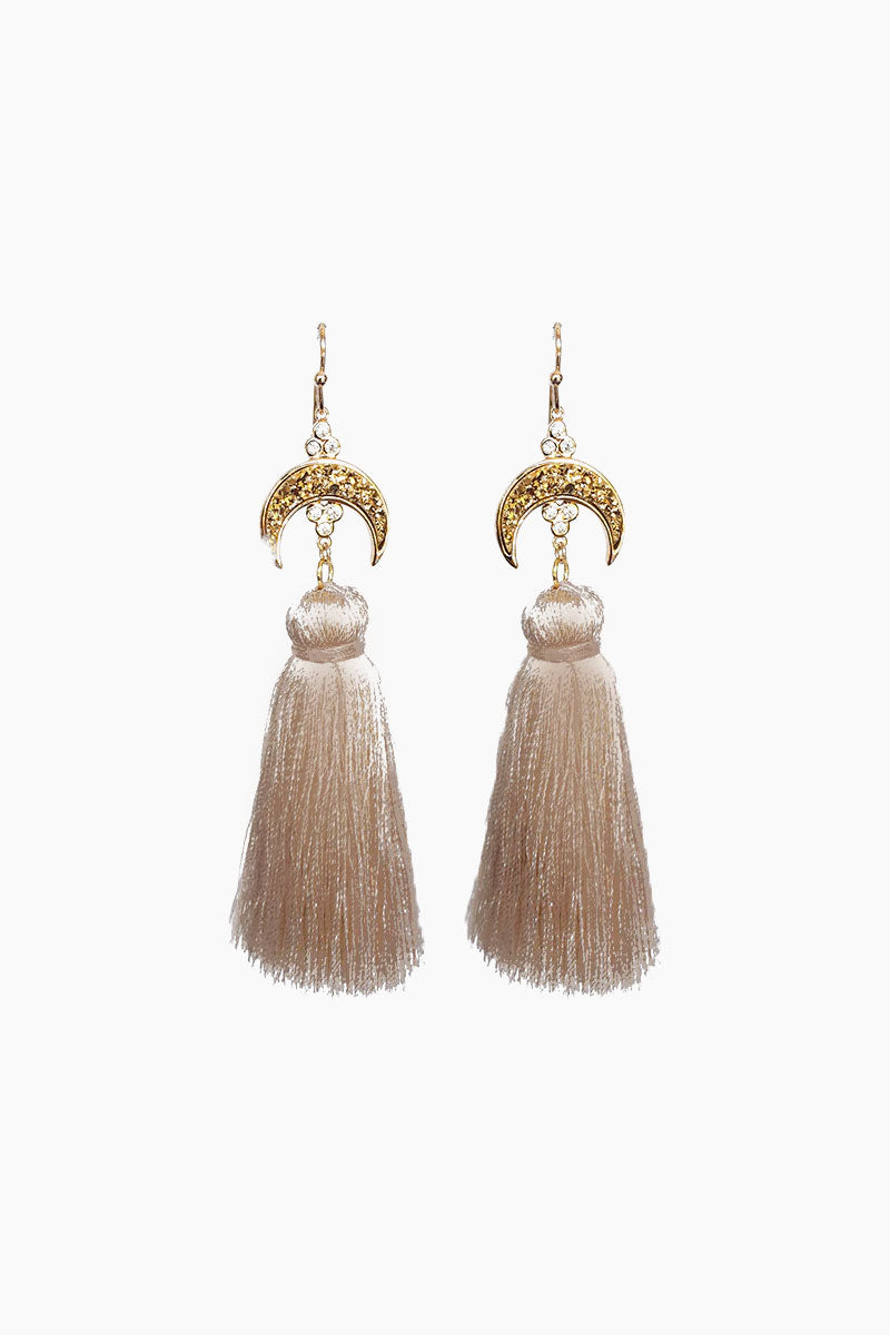 ELIZABETH STONE Titania Druzy Tassel Earrings - Taupe Jewelry | Taupe| ELIZABETH STONE Titania Druzy Tassel Earrings