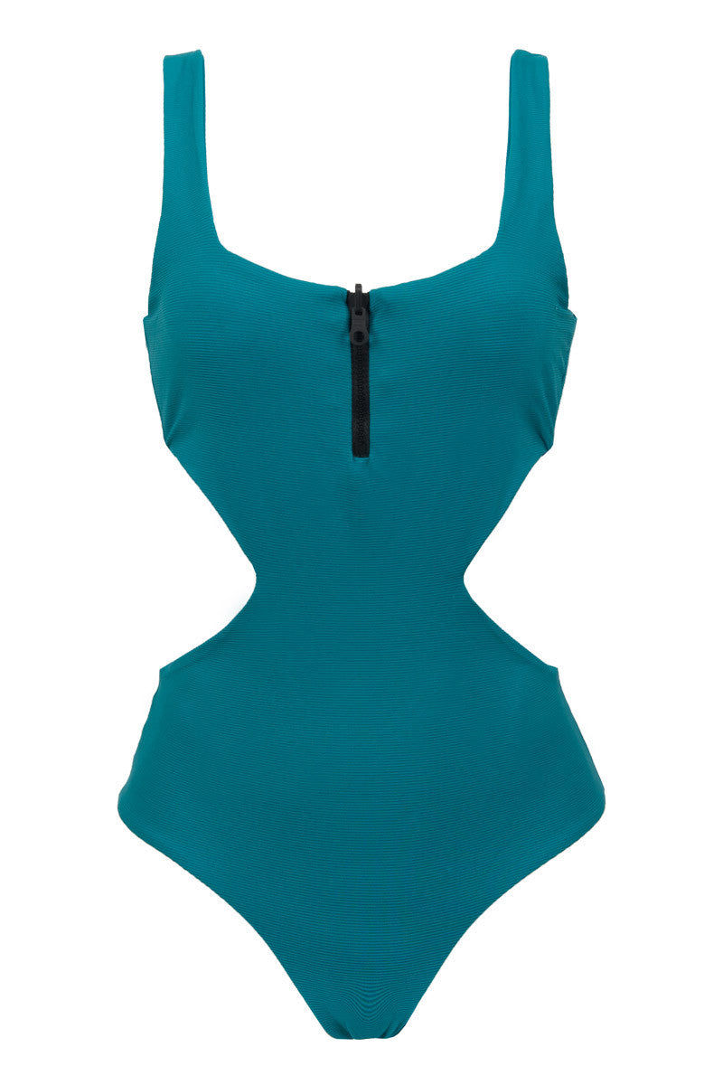 ce4257ea4fbeb TAVIK Victoria Zipper Side Cut Outs One Piece Swimsuit - Harbor Blue One  Piece | Harbor