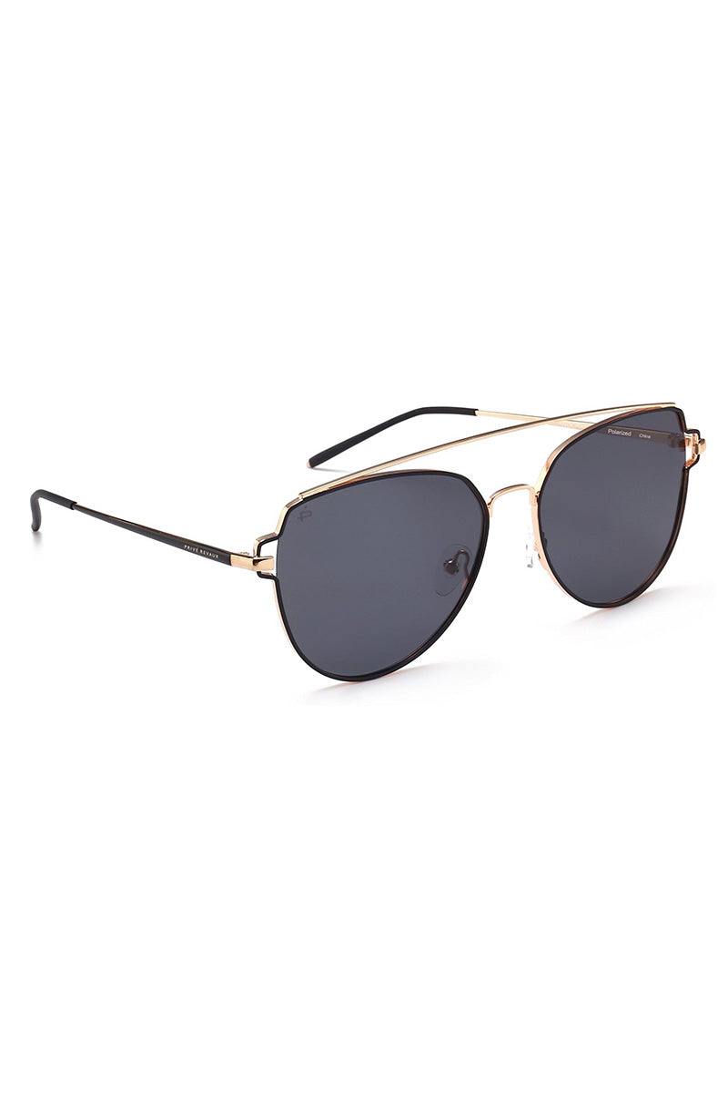 PRIVE REVAUX The Celebrity Unisex Oversized Aviator Sunglasses - Black/Gold Sunglasses | Black/Gold| PRIVE REVAUX The Celebrity Unisex Oversized Aviator Sunglasses - Black/Gold