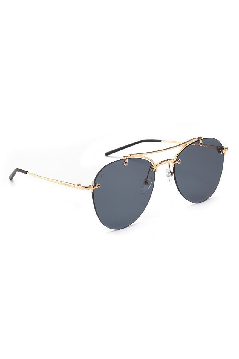 PRIVE REVAUX The Dutchess Unisex Oval Aviator Sunglasses - Black/Gold Sunglasses | Black/Gold| PRIVE REVAUX The Dutchess Unisex Oval Aviator Sunglasses - Black/Gold