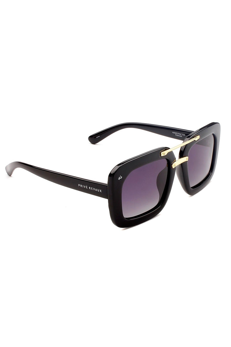 PRIVE REVAUX The Karl Oversized Square Polarized Sunglasses - Black Sunglasses | Black| Prive Revaux The Karl - Black