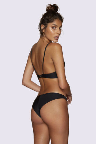 KOPPER & ZINK Tobi Lace Up Front Bikini Top - Black Bikini Top | Black| Kopper & Zink Tobi Lace Up Front Bikini Top - Black. Features:  Lightweight neoprene bikini top  Supportive fabric  Lace-up feature with rose gold hardware  Lightweight removable cups for shape Front View