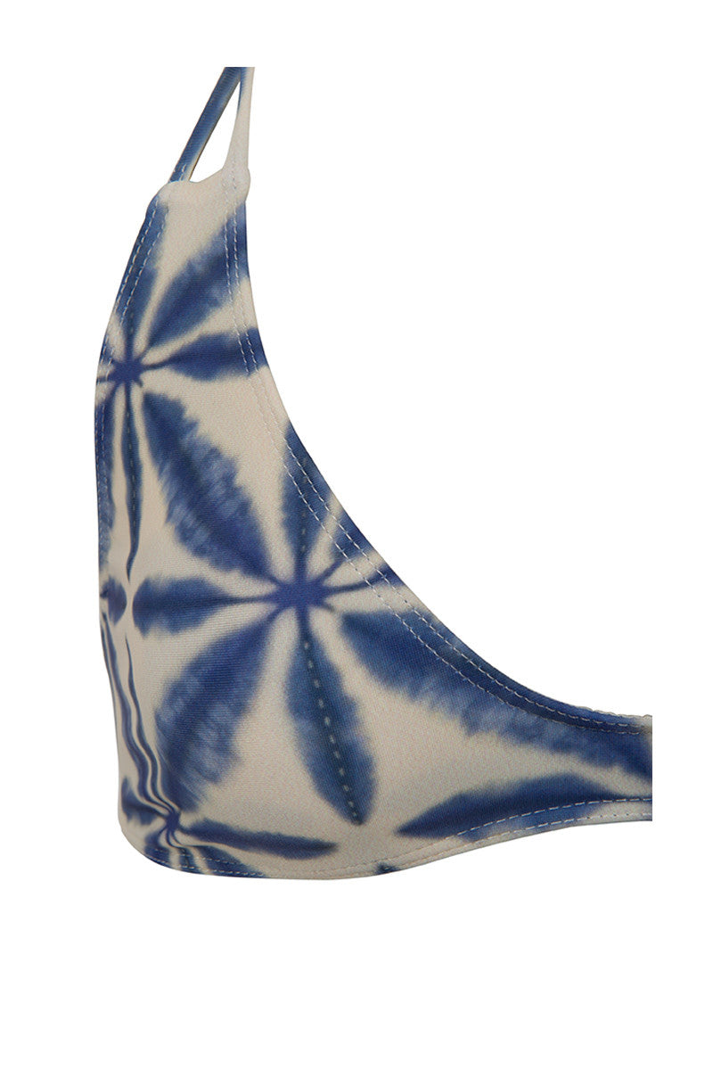 STONE FOX SWIM Loni Sporty T Back Bikini Top - Ocean Blue Batik Print Bikini Top | Ocean Blue Batik Print| Loni Sporty T Back Bikini Top - Ocean Blue Batik Print