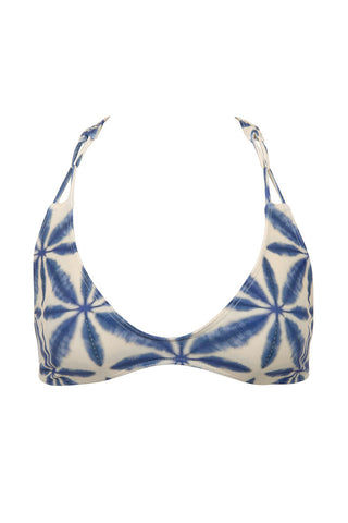 STONE FOX SWIM Loni Sporty T Back Bikini Top - Ocean Blue Batik Print Bikini Top | Ocean Blue Batik Print| Stone Fox Swim Loni Sporty T Back Bikini Top - Ocean Blue Batik Print Ultra-flattering scoop neckline frames your décolletage and shows some skin. Wide, fixed shoulder criss-cross shoulder straps sit comfortably on your shoulders. Slim racerback design flatters your shoulder blades and provides extra bust support. Front View