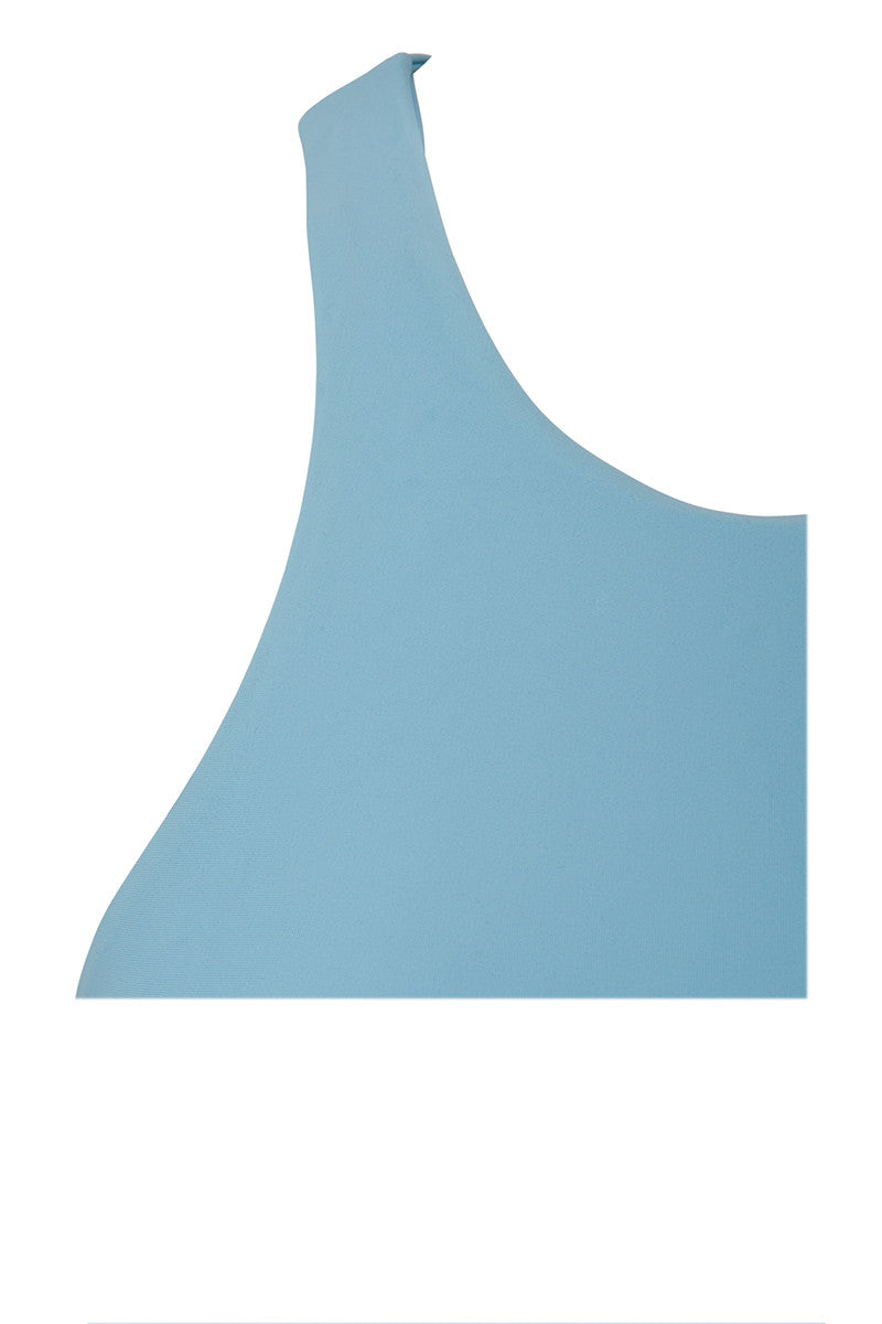 STONE FOX SWIM Venice High Neck Racerback Bikini Top - Sky Blue Bikini Top | Sky Blue| Stone Fox Swim Venice High Neck Racerback Bikini Top - Sky Blue Sporty high neck racerback side cut out bikini top in sky blue. High neckline frames your shoulder blades for an athletic look. Fixed, wide shoulder straps are non-adjustable and stay put while swimming and surfing. Playful spaghetti strap side detailing exposes skin through small cut-outs. Front View
