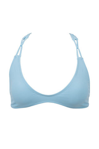 STONE FOX SWIM Loni Sporty T Back Bikini Top - Sky Blue Bikini Top | Sky Blue| Stone Fox Swim Loni Sporty T Back Bikini Top - Sky Blue porty scoop neck bralette strappy bikini top in sky blue. Ultra-flattering scoop neckline frames your décolletage and shows some skin. Wide, fixed shoulder criss-cross shoulder straps sit comfortably on your shoulders. Slim racerback design flatters your shoulder blades and provides extra bust support. Front View