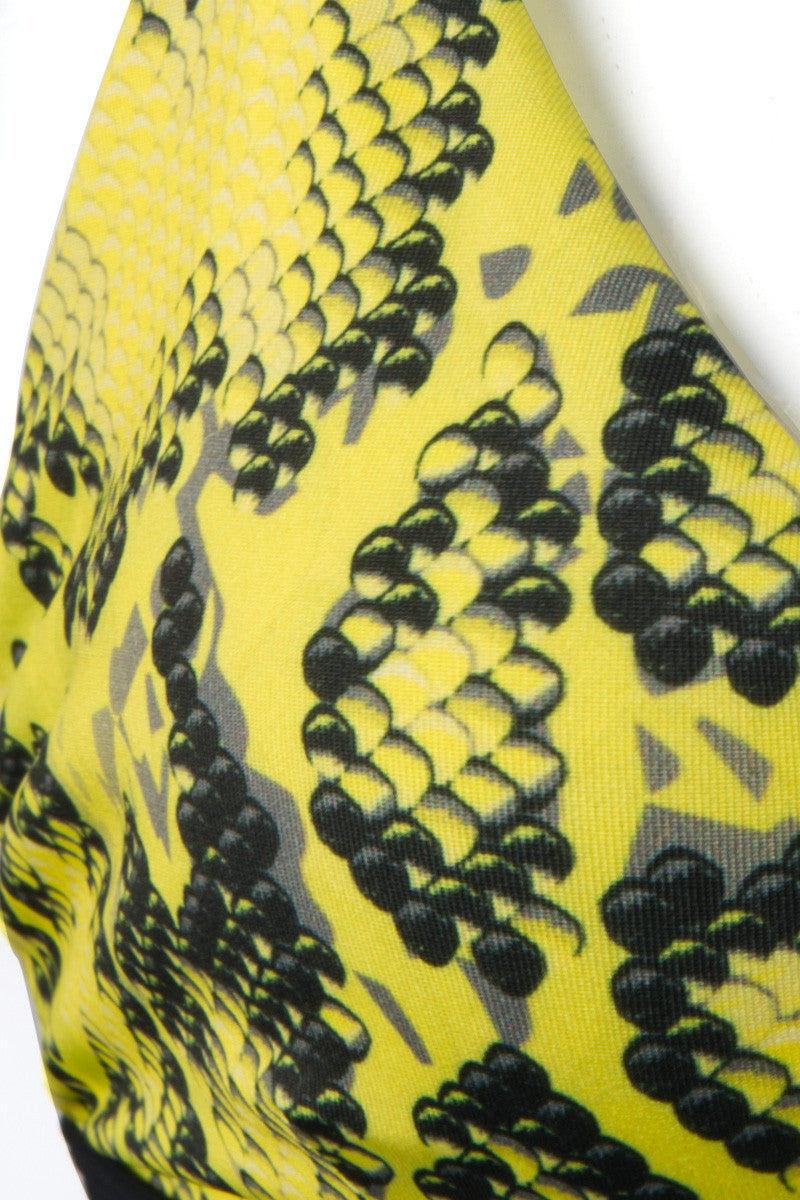 ZIGILANE Honey Pot Top Bikini Top | Yellow Snake|