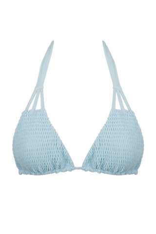 TORI PRAVER Daisy Top Bikini Top | Blue| Tori Praver Daisy Top. Features: Fixed triangle bikini top in flattering pale blue fabric with shirring detail. Smocked textured cups give dimension to the bikini top. Cut-out detailing on straps adds an on-trend finish. Bright mist blue color accentuates the beauty of every skin tone. Front View