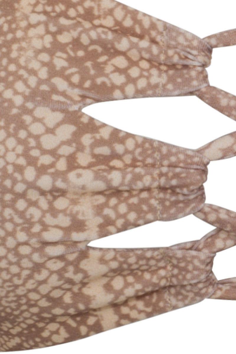 TORI PRAVER Napili Lace Up Bandeau Bikini Top - Snake Skin Print Bikini Top | Snake Skin Print| Tori Praver Napili Lace Up Bandeau Bikini Top - Snake Skin Print Bandeau top Lace up front and back detail 80% Nylon, 20% Spandex  Hand wash Front View