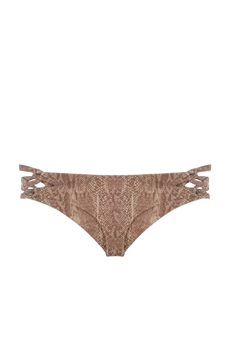 TORI PRAVER Napili Criss-Cross Sides Cheeky Bikini Bottom - Snake Bikini Bottom | Snake Naked| Tori Praver Napili Bottom