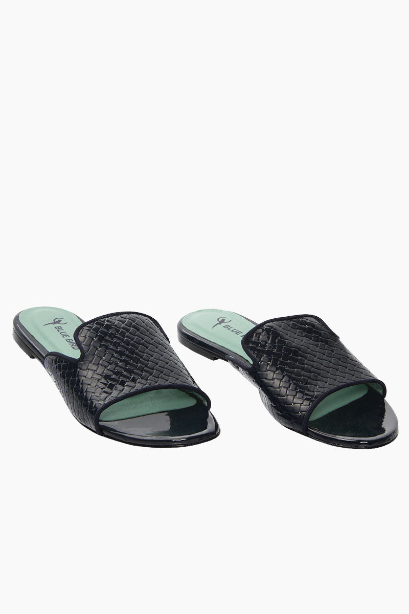 BLUE BIRD Tresse Shower Flats - Black Sandals | Black| Blue Bird Tresse Shower Flats - Black Elegant and sophisticated python leather flats  Produced in Brazil with Italian assembly process Leather lining  Guarantee the maximum comfort of the insole 100% leather sole Heel- 0.5 inches The Blue Bird's are produced with natural leather, from the lining to the sole, guaranteeing its durability Front View