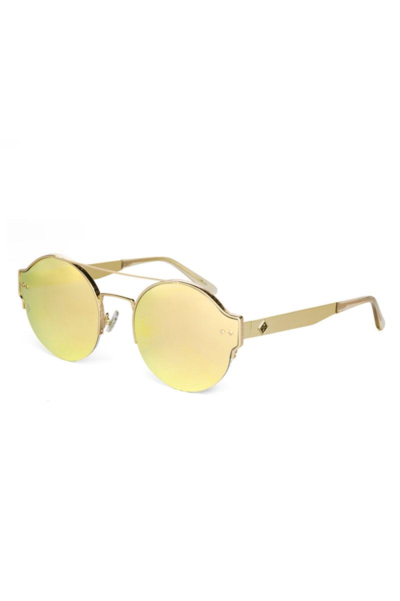 WONDERLAND SUNGLASSES Salton Sea Sunglasses - Shiny Gold Metal Sunglasses   Shiny Gold Metal  Wonderland Sunglasses Salton Sea Sunglasses - Shiny Gold Metal Angled View