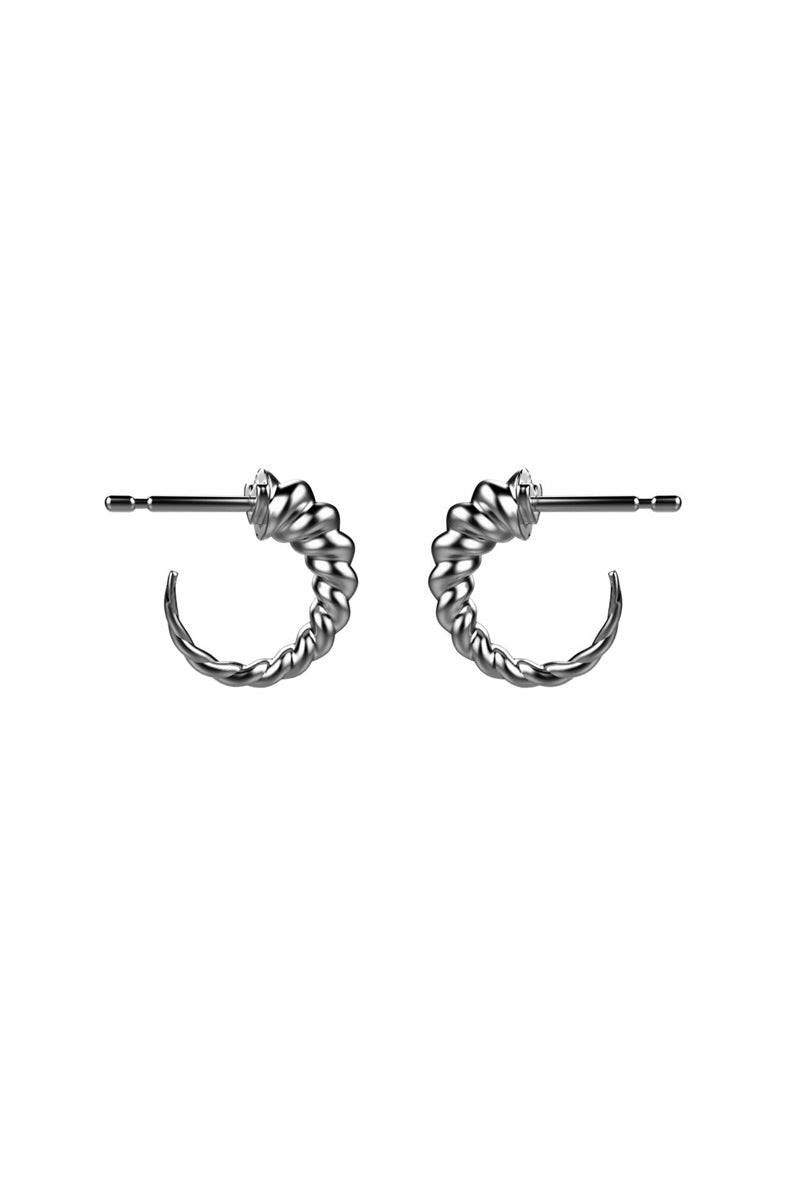 EACH JEWELS Unicorn Horn Huggies Earrings - Silver Jewelry   Silver  Each Jewels Unicorn Horn Huggies Earrings - Silver Unicorn horn detailed earrings made in NYC Front View