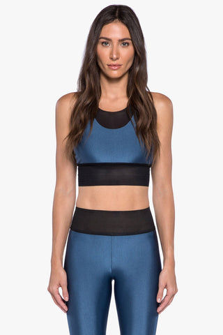 "KORAL Utopia Double Layer Sports Bra - Catalina Activewear | Catalina| Koral Utopia Double Layer Sports Bra - Catalina.  Features:  Double layer sports bra with mesh underlayer and tonal ""K"" logo heat transfer on back Meant for high performance. Athleisure Machine wash cold, inside out like colors; No bleach; Tumble dry low MADE IN USA   Front View"