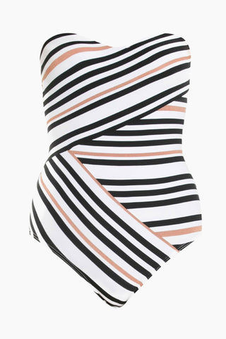 JETS Bandeau One Piece Swimsuit - Black/White Stripe One Piece | Black/White Stripe| JETS Bandeau One Piece Swimsuit - Black/White Stripe. Features: Strapless bandeau wrap one piece swimsuit with a neutral striped pattern. Strategically-placed stripes create a wrap-style effect to draw in and define your waistline. Detachable halter strap offers the perfect amount of lift and can be removed for a tanning-friendly silhouette. Boning at the sides and shelf bra with molded cups provide extra bust support and optimal shaping. Front View