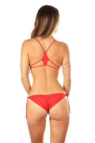WATER GLAMOUR Karolina Scrunch Bottom Bikini Bottom | Hot Coral