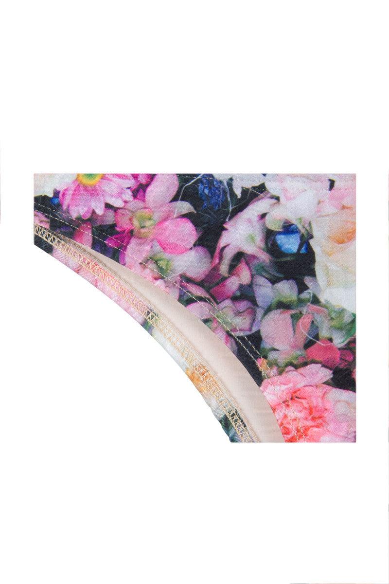 WILDFOX Fairy Wall Brazilian Bikini Bottom - Rainbow Floral Print Bikini Bottom | Rainbow Floral Print| Wildfox Fairy Wall Brazilian Bikini Bottom - Rainbow Floral Print moderate coverage and Brazilian cut, you'll be the sexiest hipster Front View