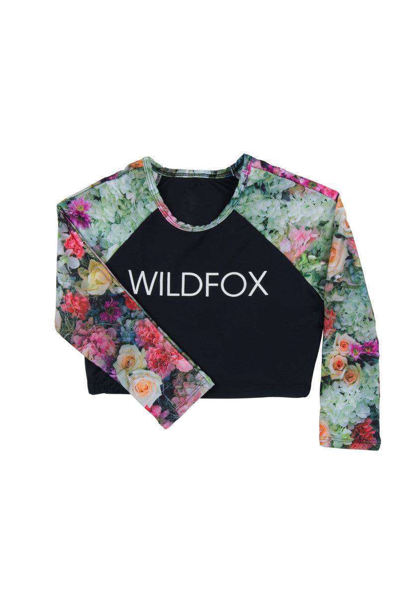 WILDFOX Original Fox Crop Rashguard Bikini Top | Multi| Wildfox Original Crop Rashguard