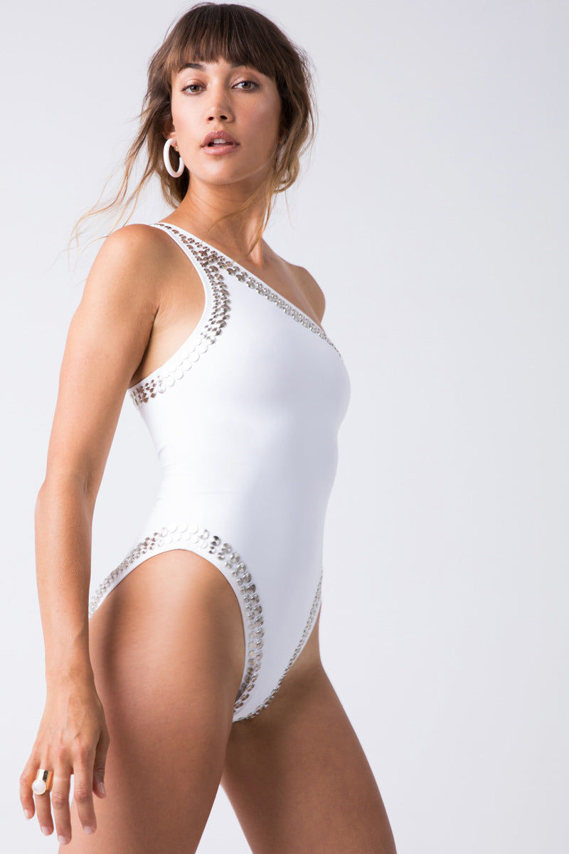 9b02dedc70 Stud One Shoulder Mio One Piece Swimsuit - White