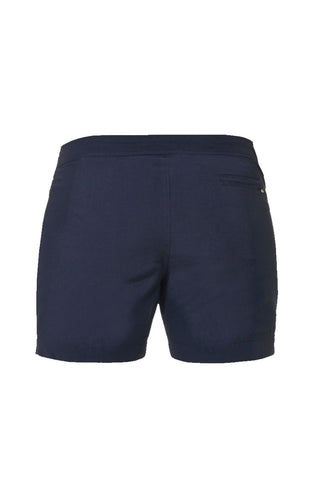 J.LIN Yachter Mid Length Swim Trunks - Crisp Green / Classic Navy Mens Swim | Classic Navy| Yachter Mid Length Swim Trunks - Crisp Green / Classic Navy. Flat Lay View. Mid-lenght. Slim tailor fit. Double snap front. Two front pockets one invisible front pocket one zip back pocket.
